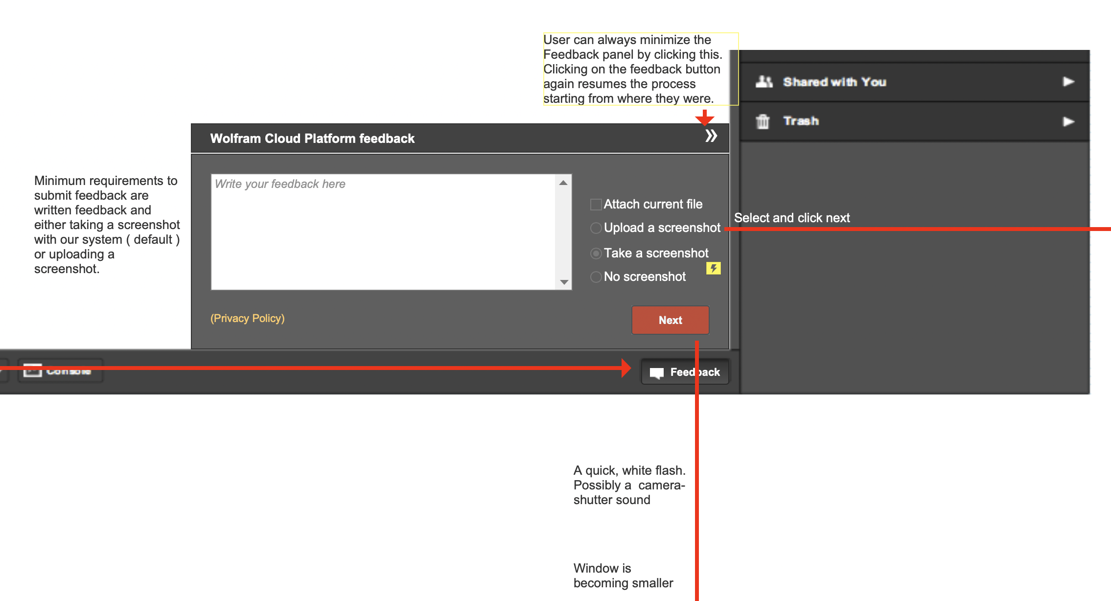 part 2  of wireframe screenshot of flow of feedback interaction prototype for Wolfram Cloud Platform/Mathematica Online