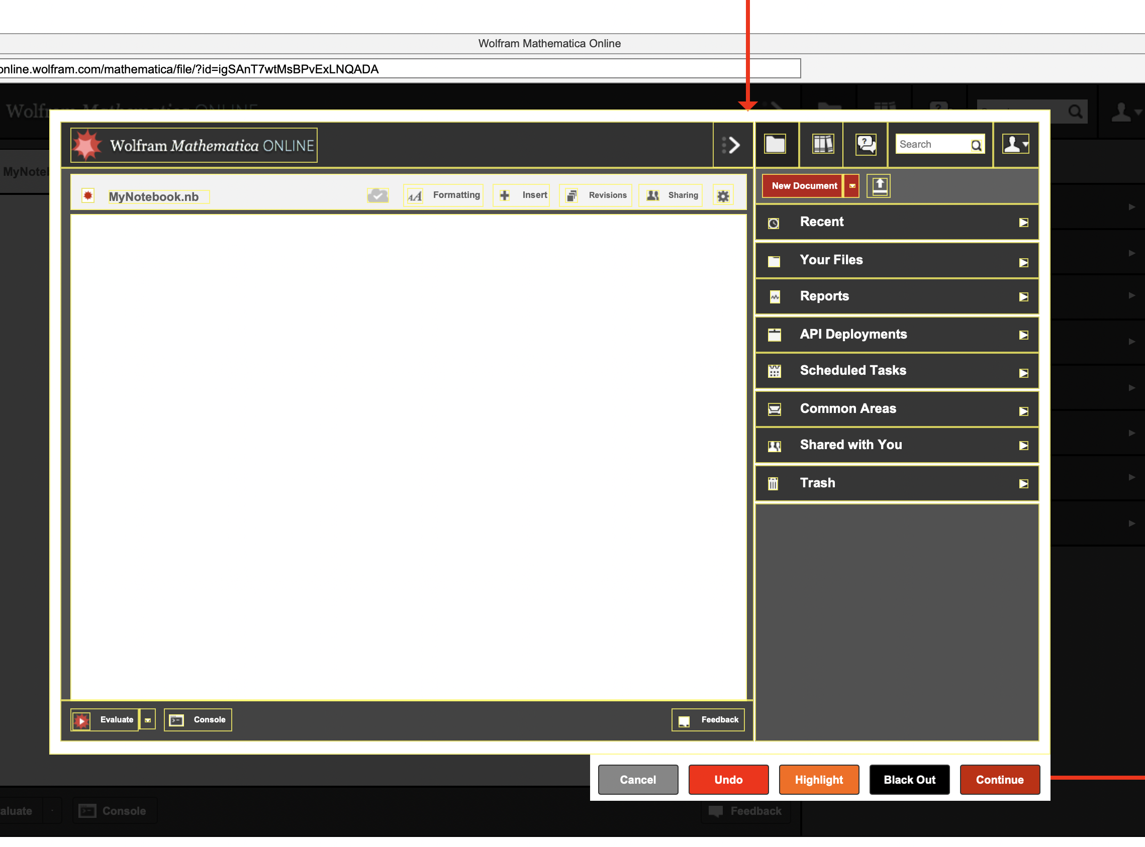 part 3 of wireframe screenshot of flow of feedback interaction prototype for Wolfram Cloud Platform/Mathematica Online