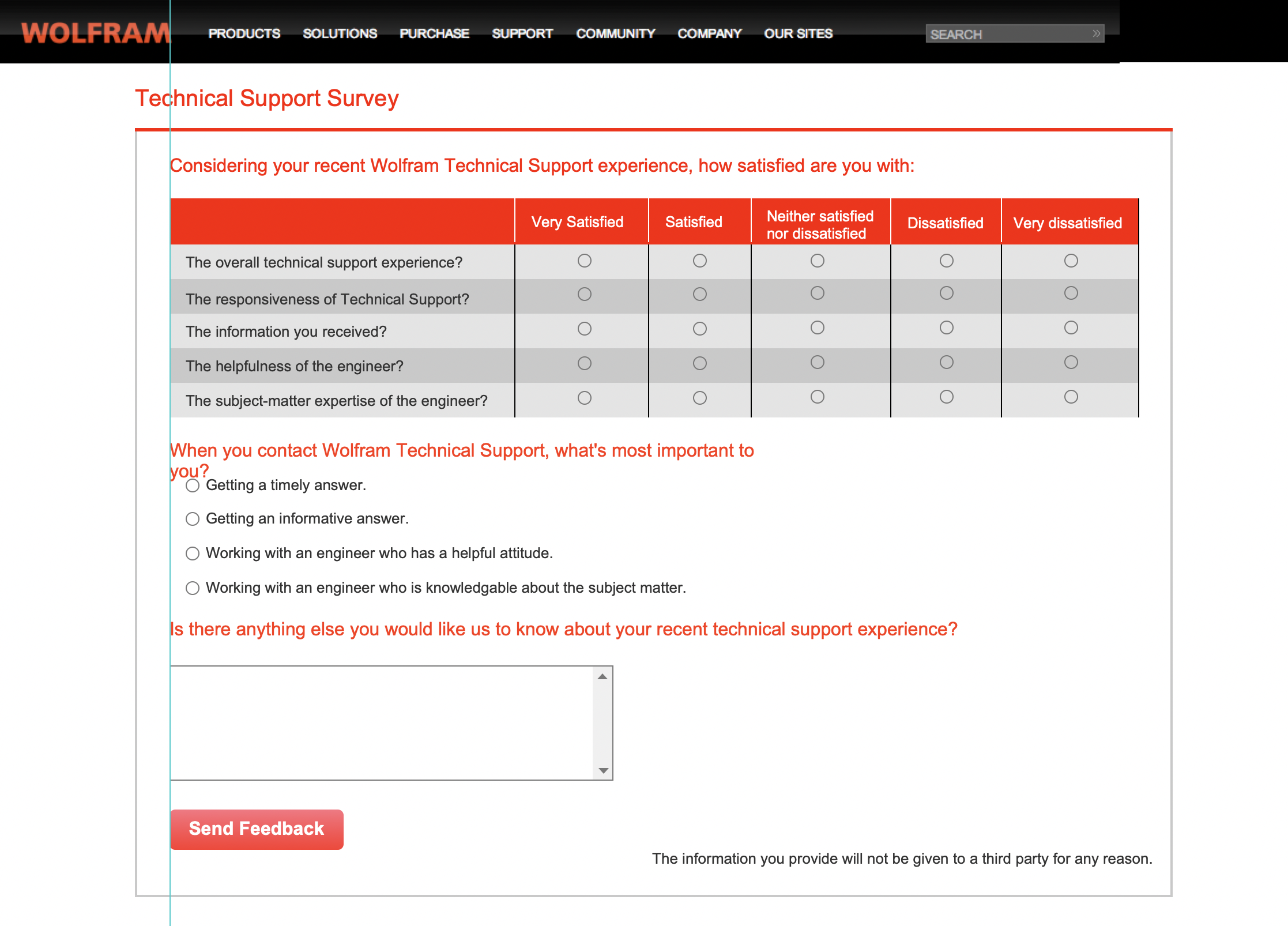 Technical support survey system wireframe