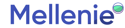 Mellenie logotype with word 'Mellenie' written in Eight Ink Pro, a sans-serif typeface, with a dark glare over part of the bottom of the 'n', 'i', and 'e'. Slightly above and after the logotype is the spaceman mark, which is an astronaut's helmet. Specifically, a seafoam colored semi-circle ark shape with an indigo to purple gradient outline, with a darker seafoam glare, inside a white circle with an indigo to purple gradient outline.