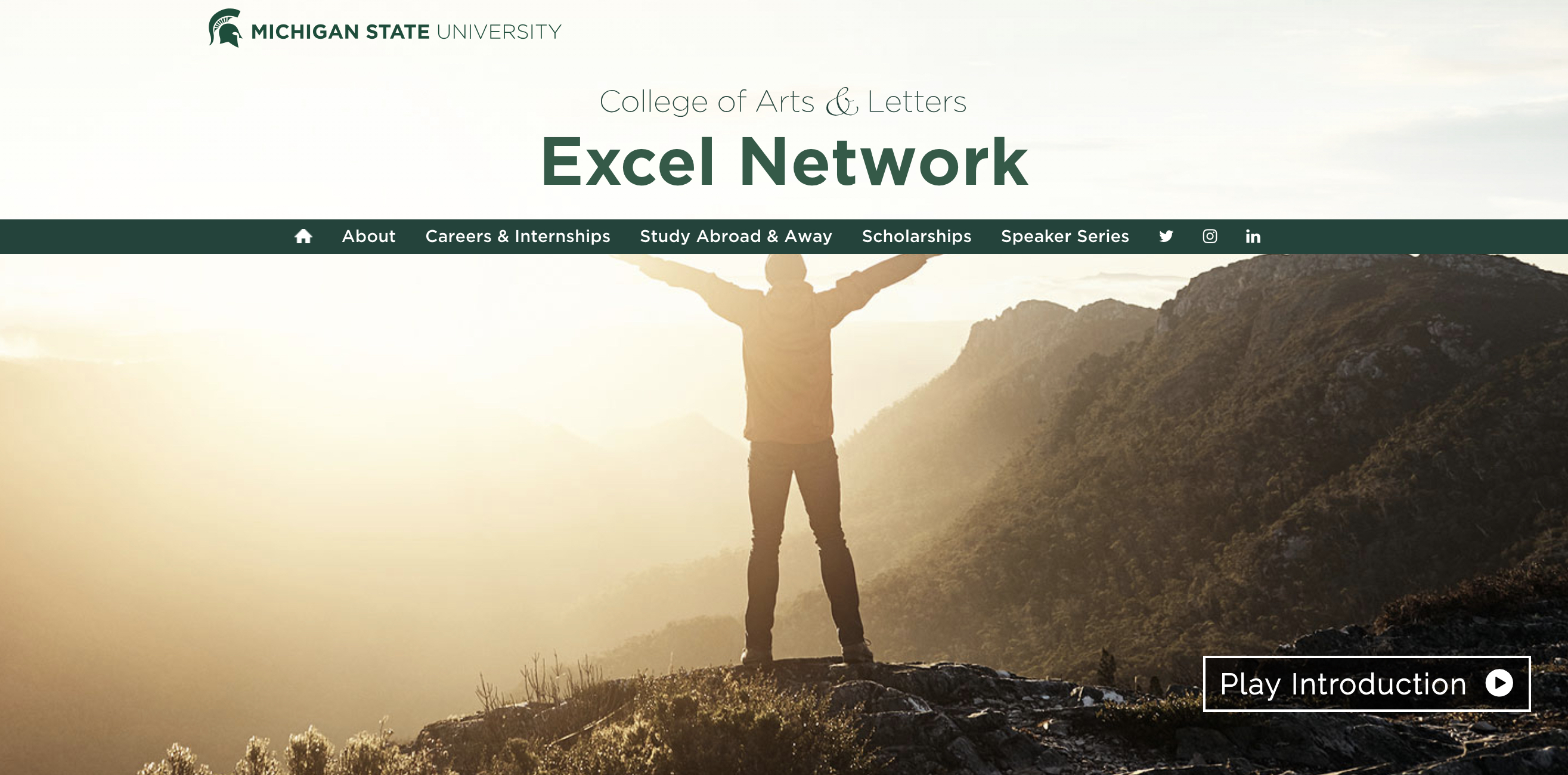 Final homepage of the MSU College of Arts and Letters The Excel Network