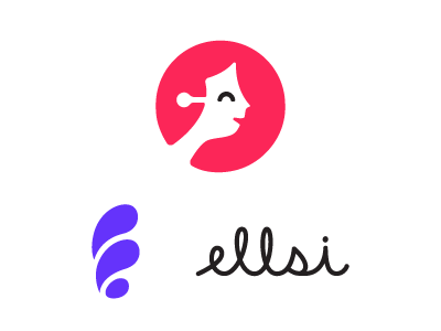 Ellsi logo, symbol, and wordmark. The logo is a human face with robotic elements and this characters long hair blowing in the wind. The wordmark is the word Ellsi in cursive script type.