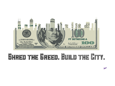 Greed Propaganda: graphic of partially shredded one hundred dollar bills where the shredded parts look like the skyline of a city