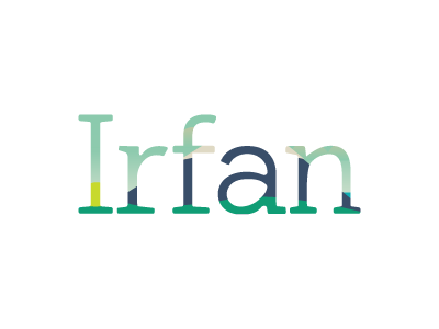 Irfan logo. The text Irfan as a mask over a simple landscape illustration with a mountain, hills, and sky