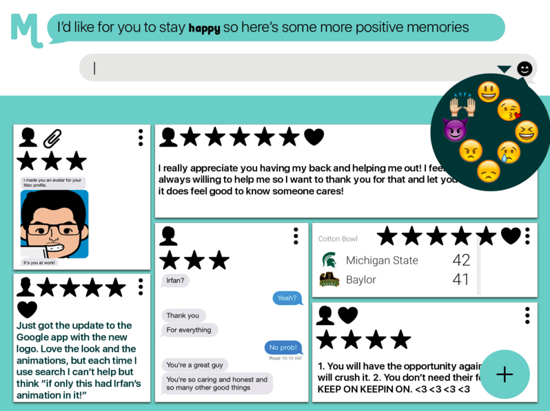 Monét Memories when sorting and searching memories by sentiment