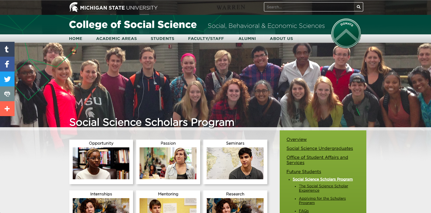Screenshot of Michigan State University College of Social Science website