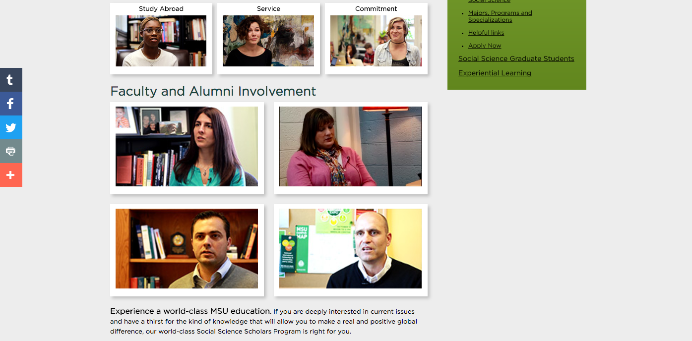 Screenshot of College of Social Science website featuring lazy loaded videos
