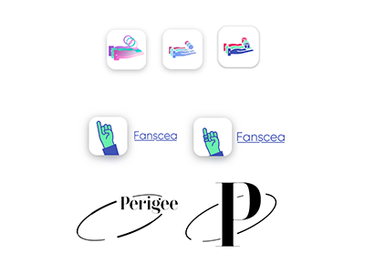 Some initial logo and wordmarks for Perigee and what it could have been including a hand presenting a gift, a hand with only its pinky/little finger raised up, and the letter P with an elliptical orbit around it