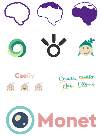 Past renditions of logos and logotypes for what would become Mellenie. They include an outline of a brain with a landscape illustration inside, a humanoid face with long hair, and illustrative logotypes of the names 'Cemille', ''Medly', 'Ada', and 'Ellyme'.