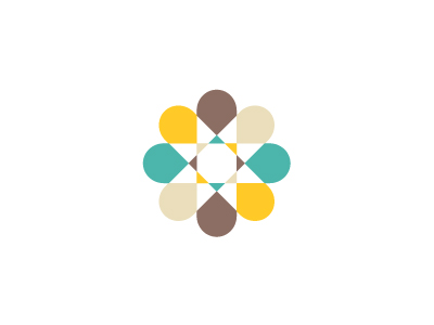 illustrative star-burst like pattern with an aqua, brown, yellow, and white-sand color