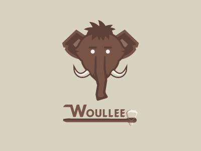 Woulee logo and brandmark. An illustrative graphic of a woolly mammoth and the text Woullee with a primative tool resembling an axe underneath acting an an underline.